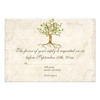 Swirl Tree Roots Antiqued Tan RSVP Response Card Personalized Invite