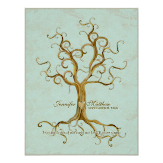 Swirl Tree Roots Antiqued Thumb Print Reception