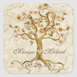 Swirl Tree Roots Antiqued Wedding Matching Seals Square Sticker