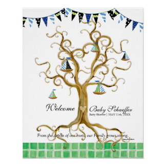 Swirl Tree Roots Sailboats n Pennant Baby Boy Poster