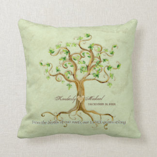 Swirl Tree Roots Tree of Life Personalized Wedding Throw Pillow