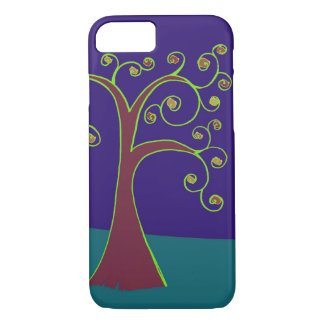 Swirl Tree with Purple and Blue Background iPhone 7 Case