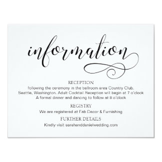 Swirl Typography Wedding Information Card Script