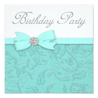 Swirl Vines Teal Blue Birthday Party Card
