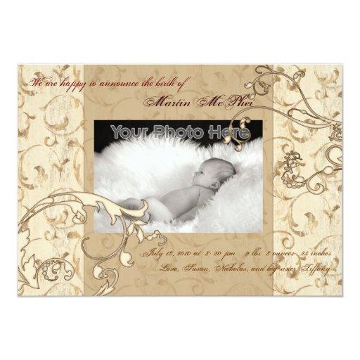 "Swirl vintage baby birth announcement 5"" x 7"" invitation card"