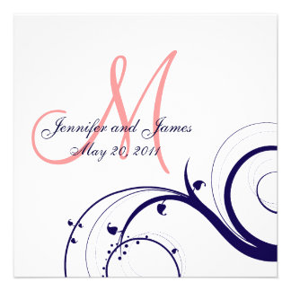 Swirl Wedding Invitations Navy Blue Coral Pink