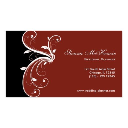 Swirl wedding planner double sided standard business cards for Wedding planning business cards