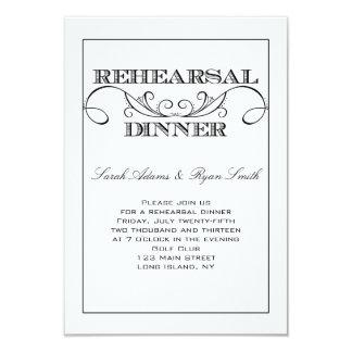 Swirl White and Black Rehearsal Dinner Invitation