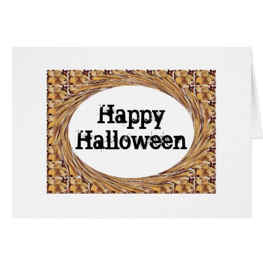 Swirled Autumn Leaves Happy Halloween Greeting Cards