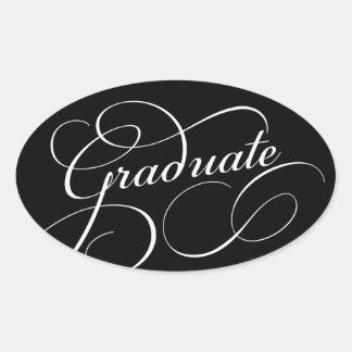 Swirled Graduate   Choose Background Color Oval Sticker