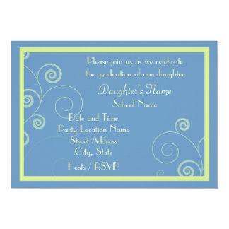 """Swirled In Blue Graduation Party Invite 5"""" X 7"""" Invitation Card"""