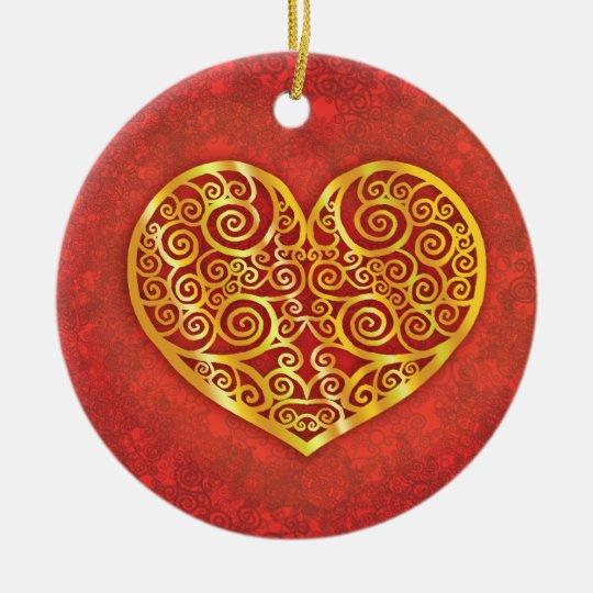 Swirled Love Gold Ceramic Ornament
