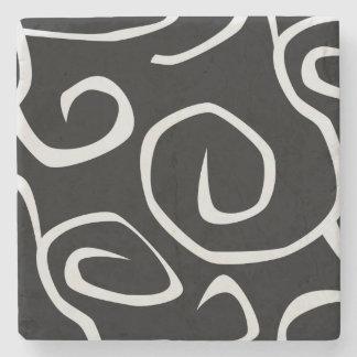 Swirled Pattern, Swirly Style - Black White Stone Coaster