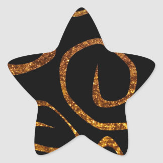 Swirled Pattern, Swirly Style, Glitter - Gold Star Sticker