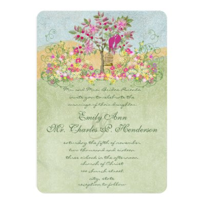 Swirled Pink Green Flower Love Birds Tree Wedding Personalized Invites