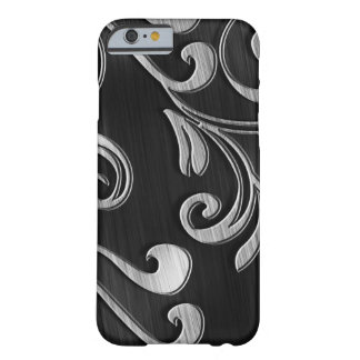 Swirled Silver Design On Black IPhone 6 Case