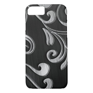 Swirled Silver Design On Black iPhone 7 Case