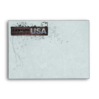 Swirled Vines Envelope with Light Blue Texture