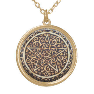 Swirled Vines Pentacle Pendant - Medium Gold-Tone