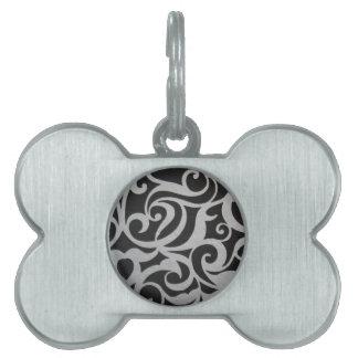 Swirley negro y blanco placas de mascota