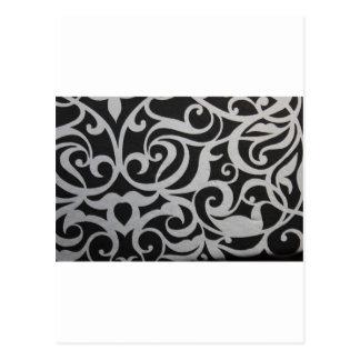 Swirley negro y blanco tarjeta postal