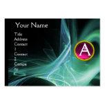 SWIRLGEM MONOGRAM Vibrant black green pink Business Card Templates