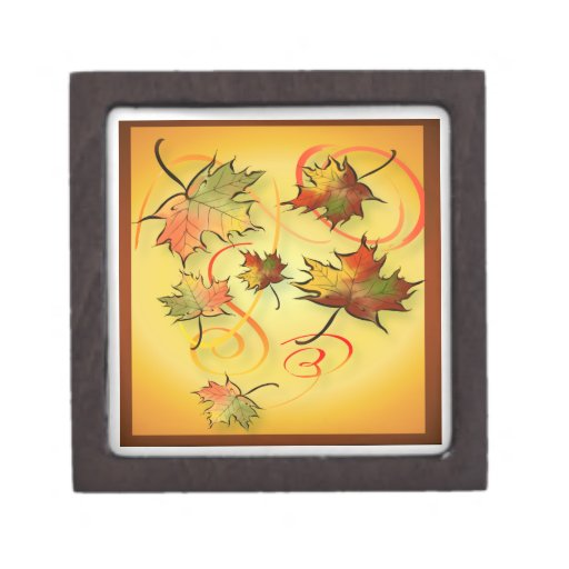 Swirling Autumn Leaves  Gift Boxes Premium Trinket Boxes