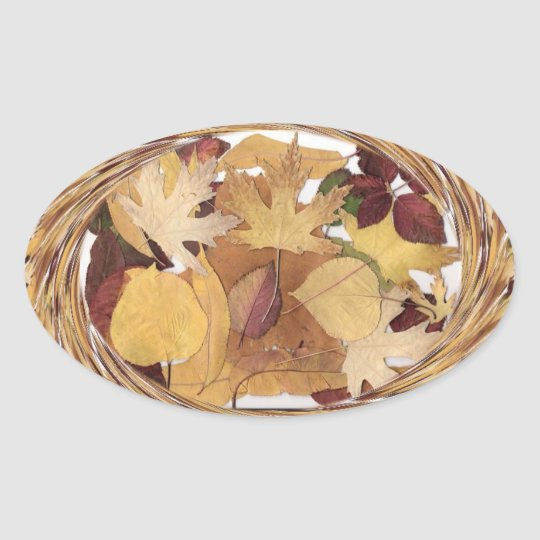 Swirling Autumn Leaves Oval Sticker