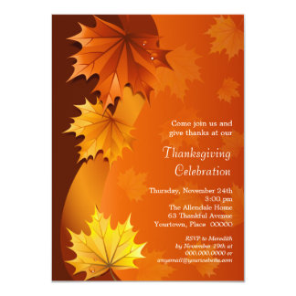 Swirling Autumn Leaves Thanksgiving Dinner Party Card