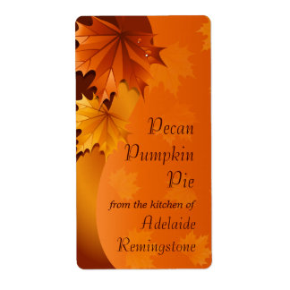 Swirling Autumn Leaves Thanksgiving Kitchen Shipping Label
