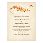 Swirling Autumn Leaves Wedding Announcement