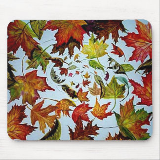 Swirling Autumn Maple Leaves Art Mouse Pad