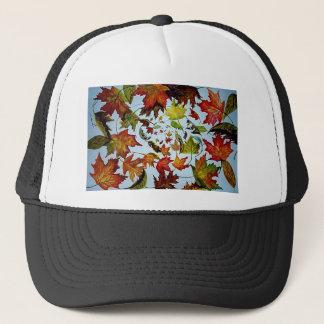 Swirling Autumn Maple Leaves Art Trucker Hat