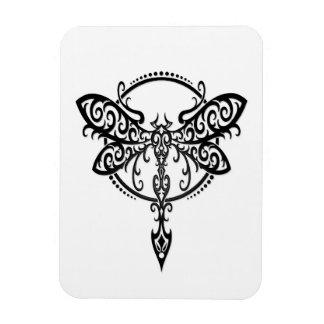 Swirling Black Dragonfly on White Magnet