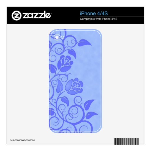 Swirling Blue Roses iPhone 4S Skin
