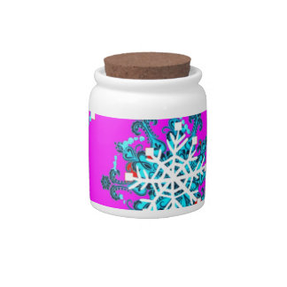Swirling Blue Snow Flakes by Sharles Candy Jar