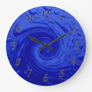 Swirling Blue Water Large Clock