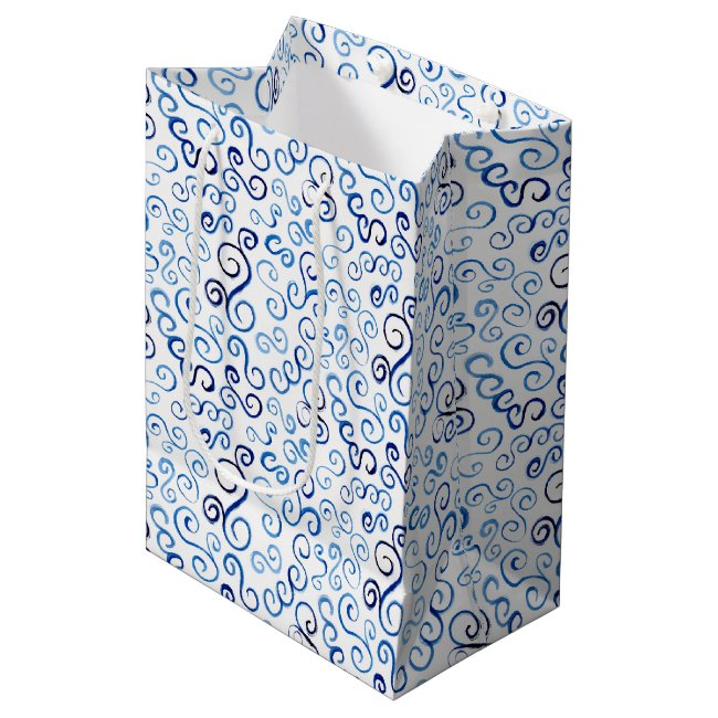 Swirling Blue Watercolor Curves Gift bag