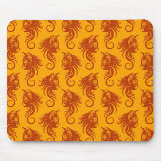 Swirling Brown and Yellow Cat Pattern Mousepads