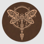Swirling Brown Dragonfly Stickers