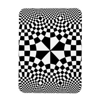 Swirling Checkers Optical Illusion Black & White Magnet