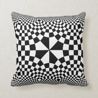 Swirling Checkers Optical Illusion Black & White Pillow