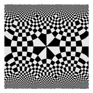 Swirling Checkers Optical Illusion Black & White Poster