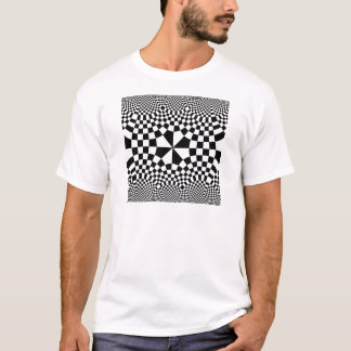 Swirling Checkers Optical Illusion Black & White T-Shirt