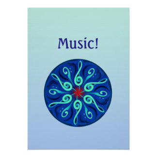 Swirling Clefs Poster