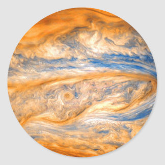 Swirling Clouds of Jupiter Classic Round Sticker