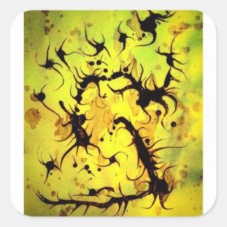 Swirling Coffee Art Design Square Sticker