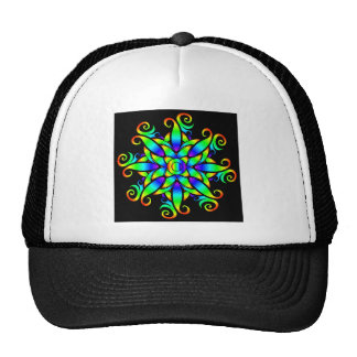 Swirling colorful design hats