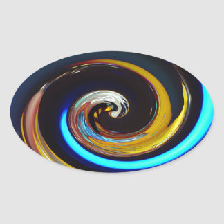 Swirling colors, Wirbelnde Farben Oval Sticker