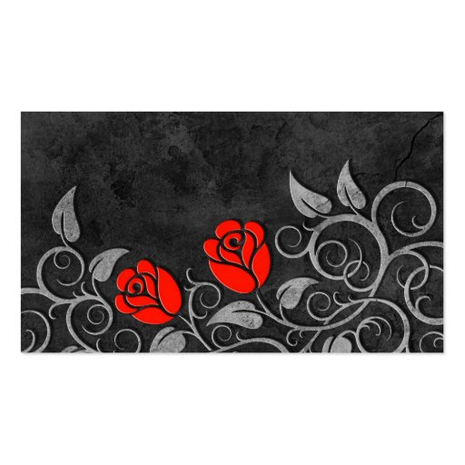 Swirling Dark Stone Red Roses Business Card